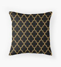 Black Gold Quatrefoil Pattern Throw Pillow