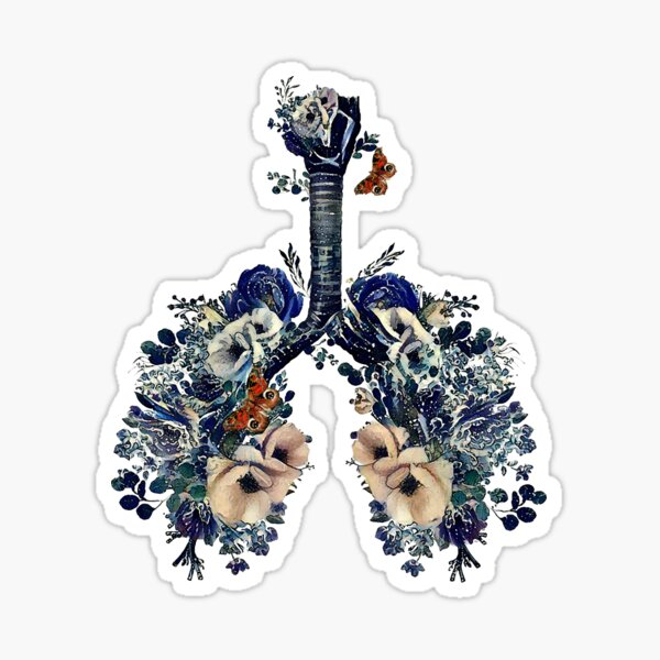 Lungs with wild flowers and splashes of water, waves, watercolor shades of blue and sand Sticker