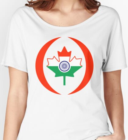 Indo Canadian Multinational Patriot Flag Series Relaxed Fit T-Shirt