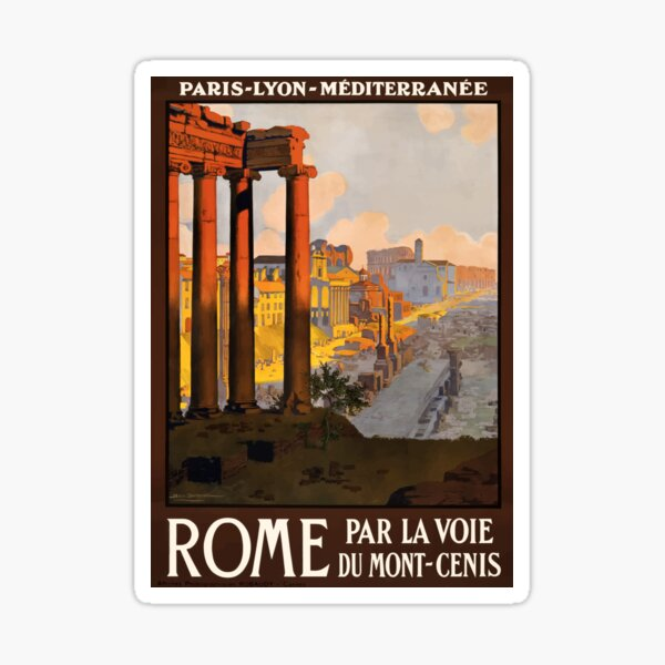 Vintage Rome Travel Poster Sticker