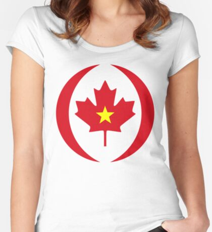 Vietnamese Canadian Multinational Patriot Flag Series Fitted Scoop T-Shirt