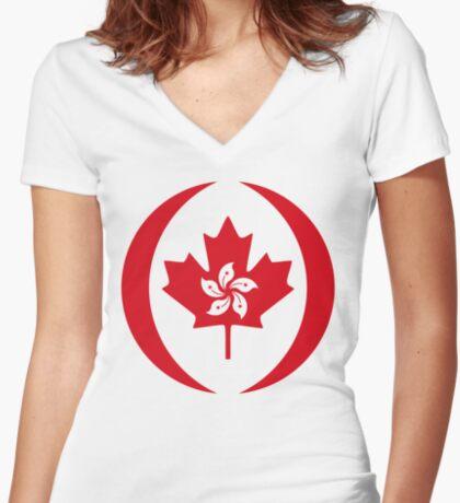 Hong Konger Canadian Multinational Patriot Flag Series Fitted V-Neck T-Shirt