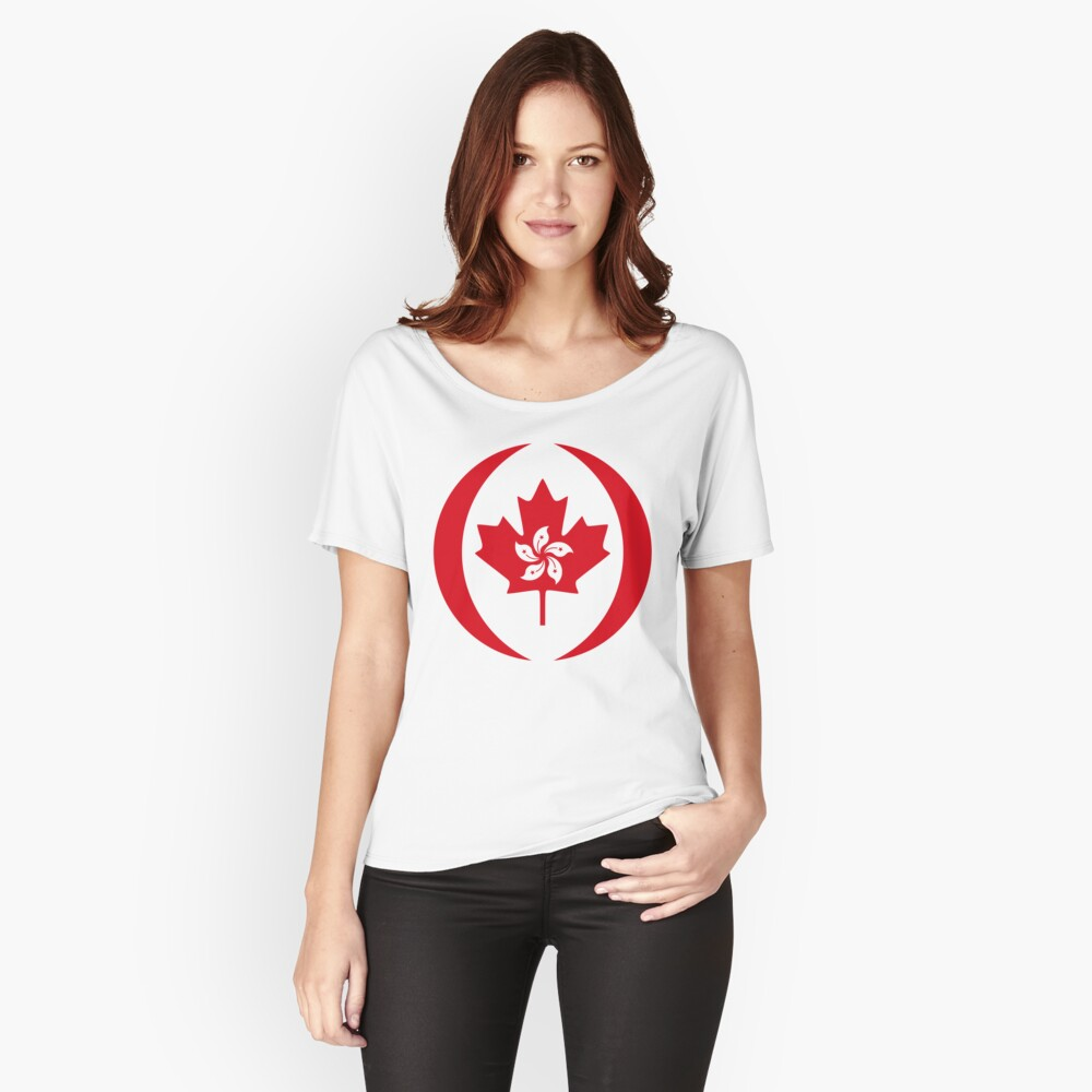 Hong Konger Canadian Multinational Patriot Flag Series Relaxed Fit T-Shirt