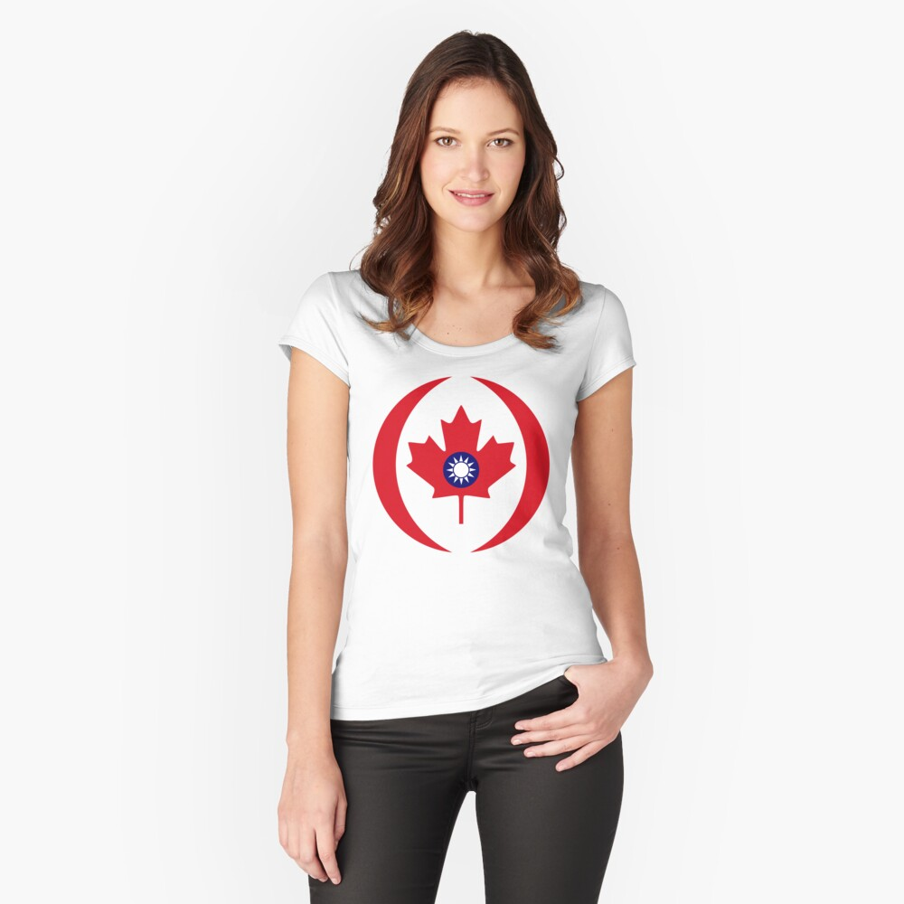 Taiwanese Canadian Multinational Patriot Flag Series Fitted Scoop T-Shirt