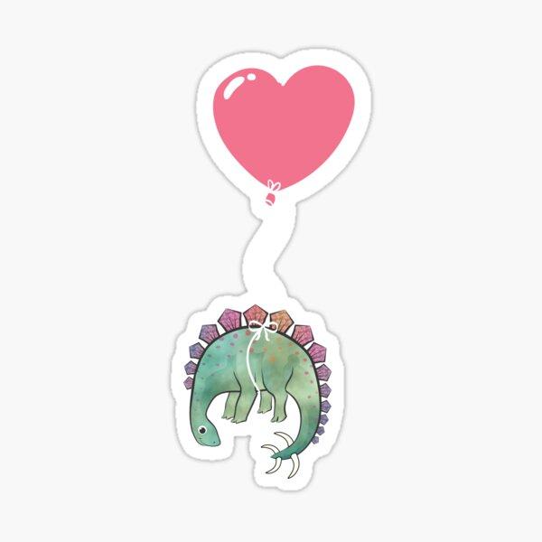 Simple Dinosaur with pink Balloon Black Sticker