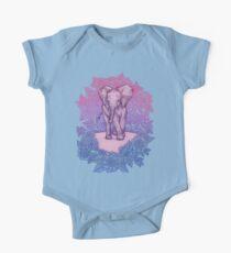 Cute Baby Elephant in pink, purple & blue One Piece - Short Sleeve