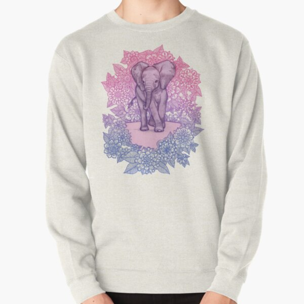 Cute Baby Elephant in pink, purple & blue Pullover Sweatshirt