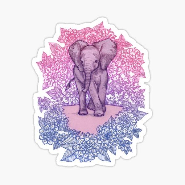 Cute Baby Elephant in pink, purple & blue Sticker