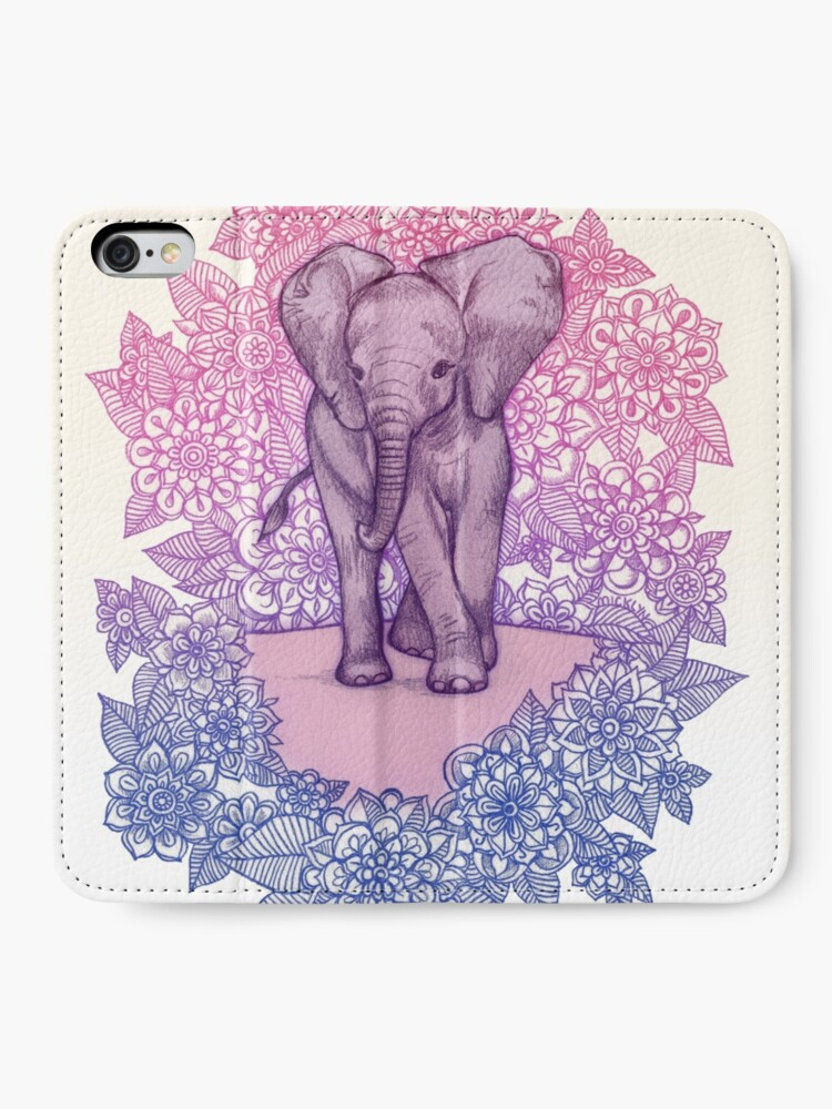 Alternative Ansicht von Niedlicher Baby-Elefant in rosa, lila und blau iPhone Flip-Case