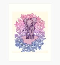 Cute Baby Elephant in pink, purple & blue Art Print