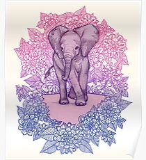 Cute Baby Elephant in pink, purple & blue Poster