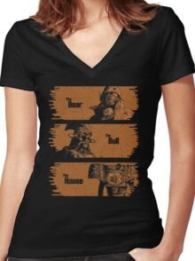 The Bear, The Bull, The House Women's Fitted V-Neck T-Shirt