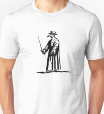 Plague Doctor - Dr. Beak - Black Death - Blackline Unisex T-Shirt