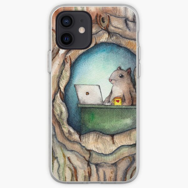 """""""Spreadsheet Squirrel"""" - watercolor squirrel in tree, woodland creatures, squirrel painting, hipster squirrel iPhone Soft Case"""
