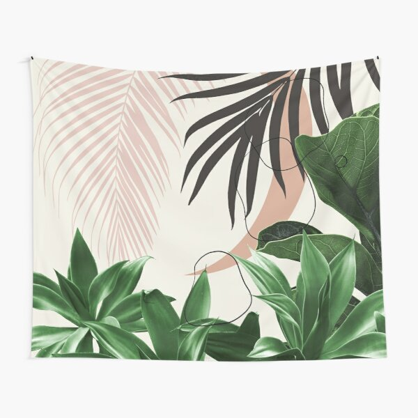 Minimal Moon Agave Palm Finesse #3 #tropical #decor #art Tapestry