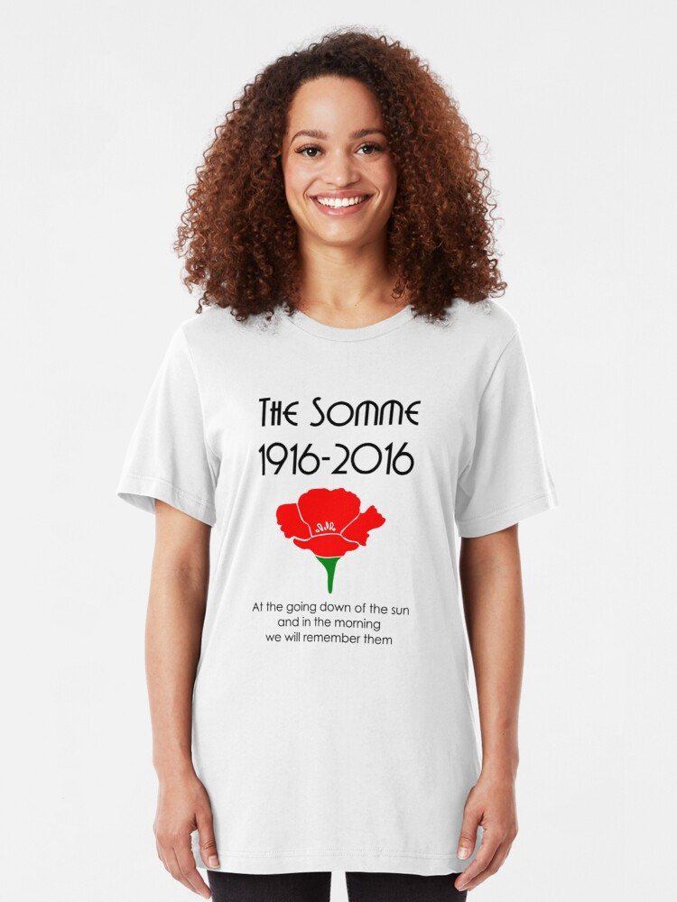 Alternate view of The Somme 1916 -2016 Poppy Slim Fit T-Shirt