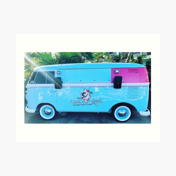 Pink & Blue Ice Cream Truck  Art Print