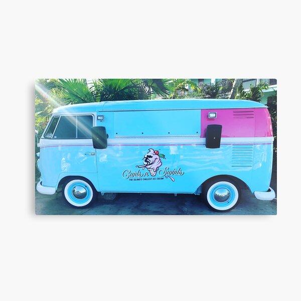 Pink & Blue Ice Cream Truck  Metal Print