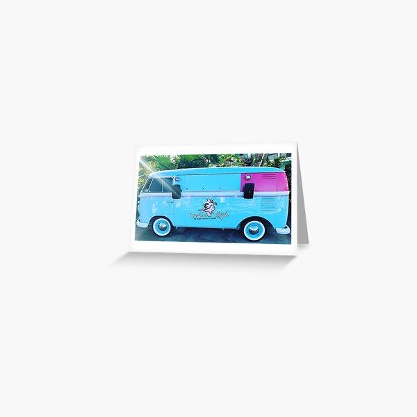 Pink & Blue Ice Cream Truck  Greeting Card