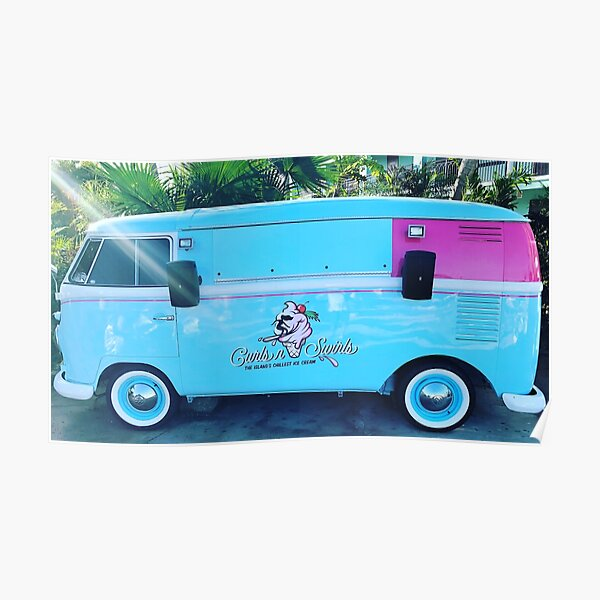 Pink & Blue Ice Cream Truck  Poster