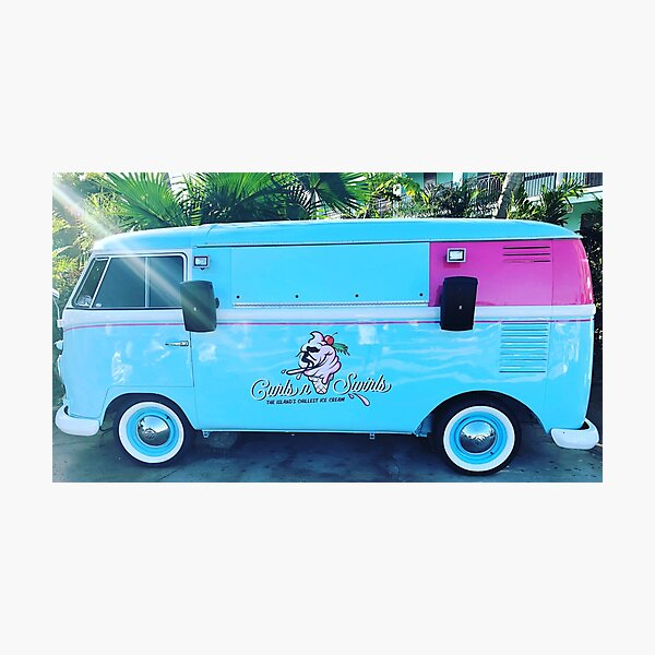 Pink & Blue Ice Cream Truck  Photographic Print