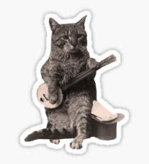 Cat Playing Banjo Guitar Sticker