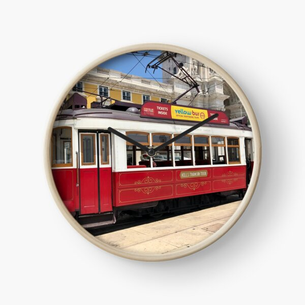 Red Tram Of Portugal Clock