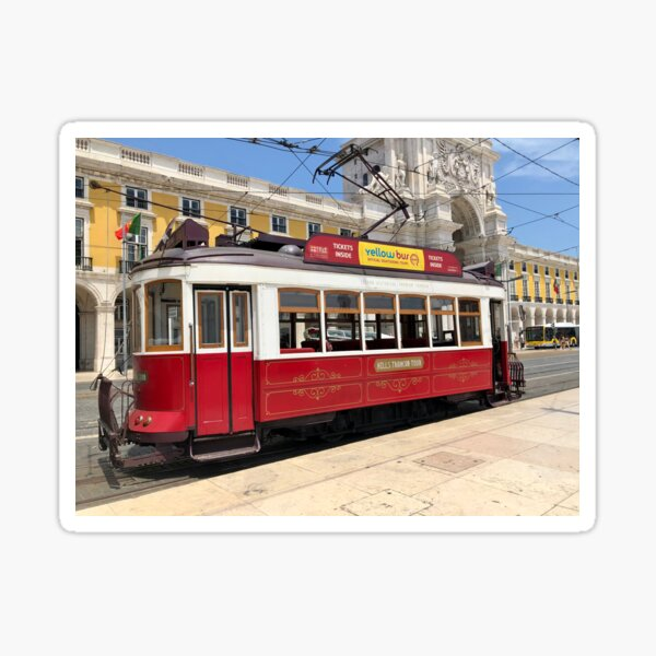 Red Tram Of Portugal Sticker