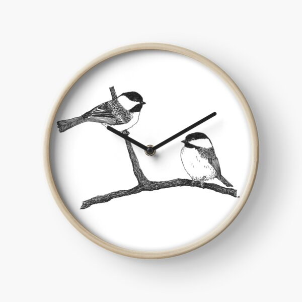 Pair of Black Capped Chickadees Clock