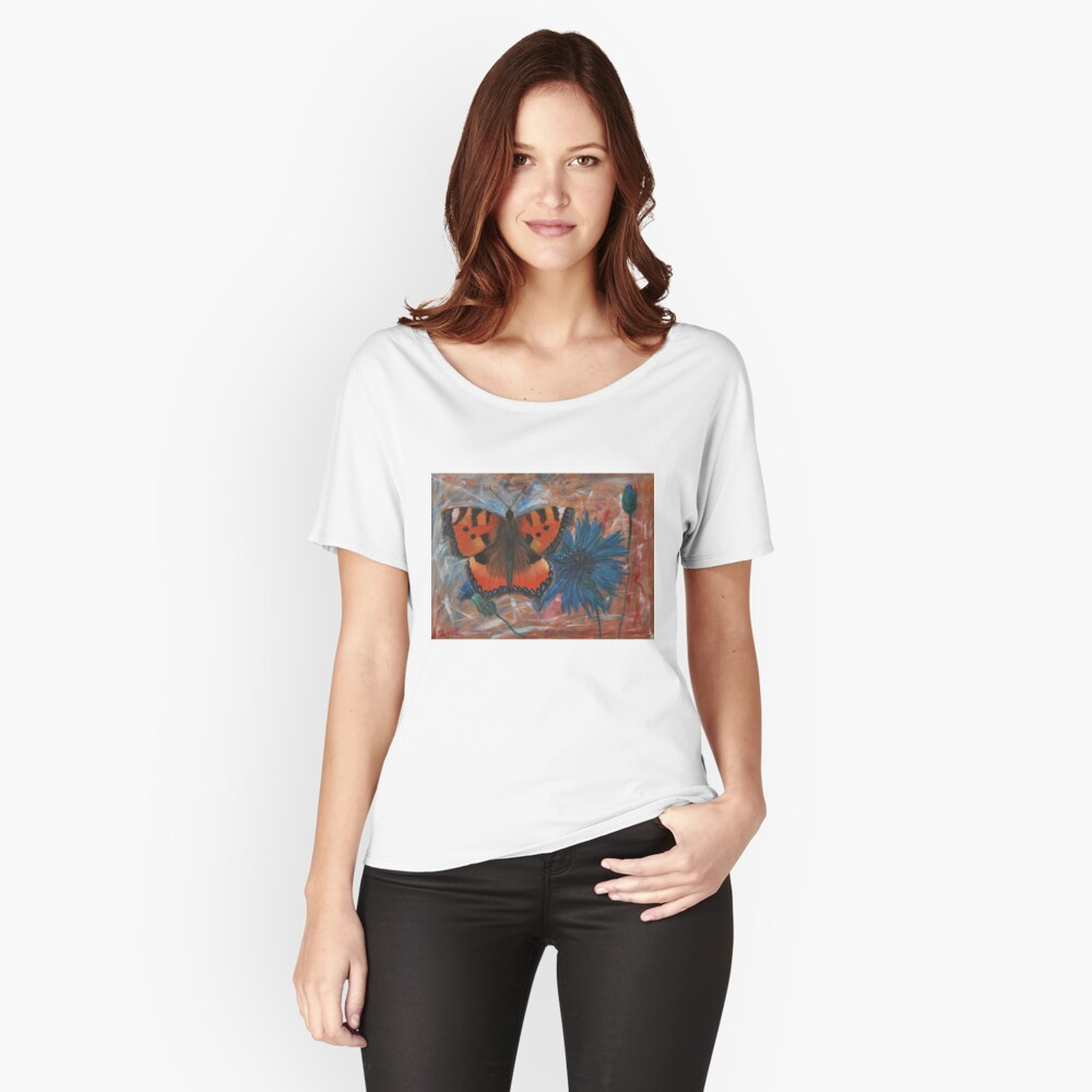 butterfly on cornflower  Women's Relaxed Fit T-Shirt Front