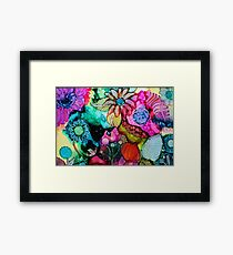 Garden Fantasy 3 - Unique Artist's Ink Painting! Framed Print