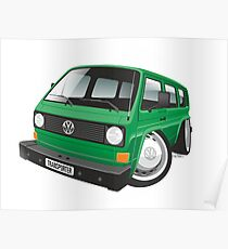 VW T3 bus caricature green Poster
