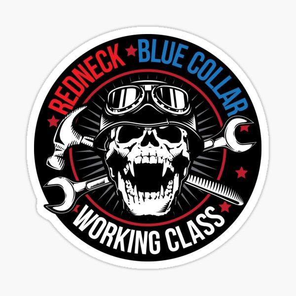 Redneck Blue Collar Working Class Skull Sticker