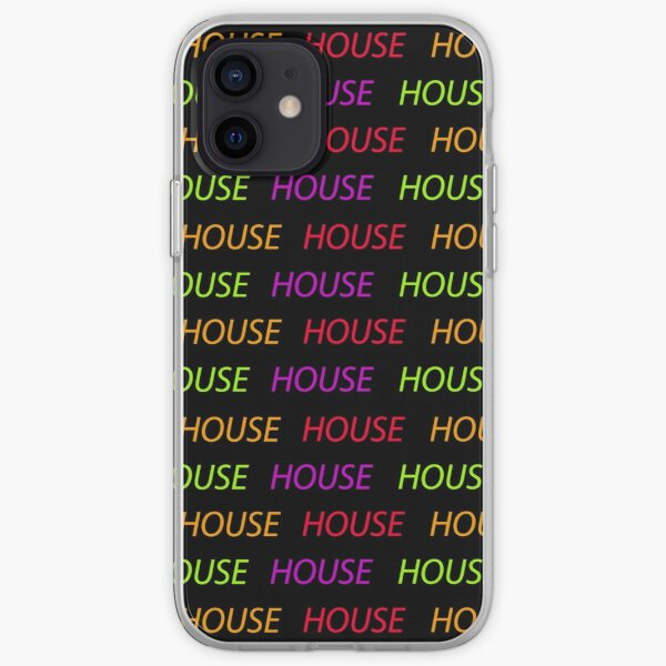 House pattern multicolored music type black background iPhone Soft Case