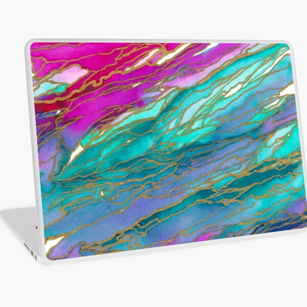 AGATE MAGIC, MIAMI SUMMER Pink Aqua Blue Marble Pattern Watercolor Abstract Painting Laptop Skin