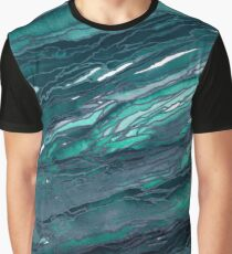 AGATE MAGIC, DARK TEAL Blue Green Marble Pattern Watercolor Abstract Painting Graphic T-Shirt