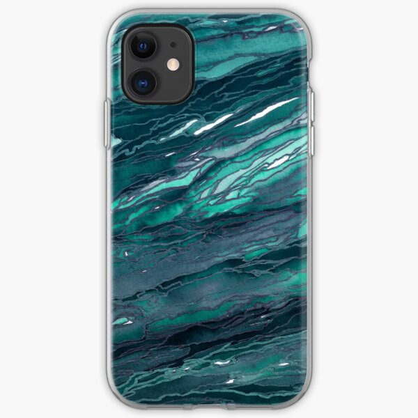 AGATE MAGIC, DARK TEAL Blue Green Marble Pattern Watercolor Abstract Painting iPhone Soft Case