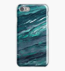 AGATE MAGIC, DARK TEAL Blue Green Marble Pattern Watercolor Abstract Painting iPhone Case/Skin