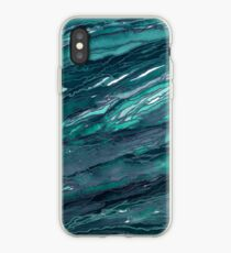 AGATE MAGIC, DARK TEAL Blue Green Marble Pattern Watercolor Abstract Painting iPhone Case