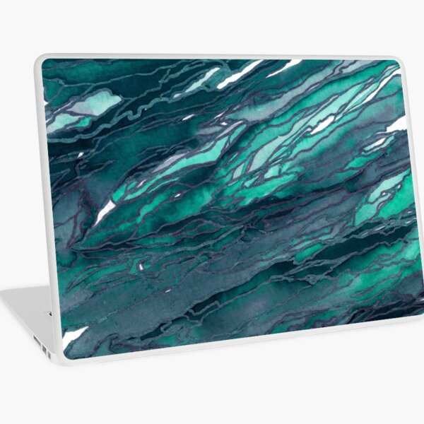 AGATE MAGIC, DARK TEAL Blue Green Marble Pattern Watercolor Abstract Painting Laptop Skin