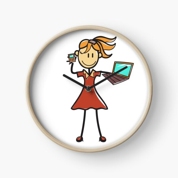 Sticky Girl Working Clock