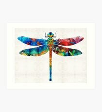 Colorful Dragonfly Art By Sharon Cummings Art Print