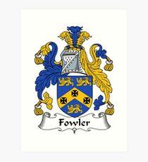 Fowler Coat of Arms / Fowler Family Crest Art Print