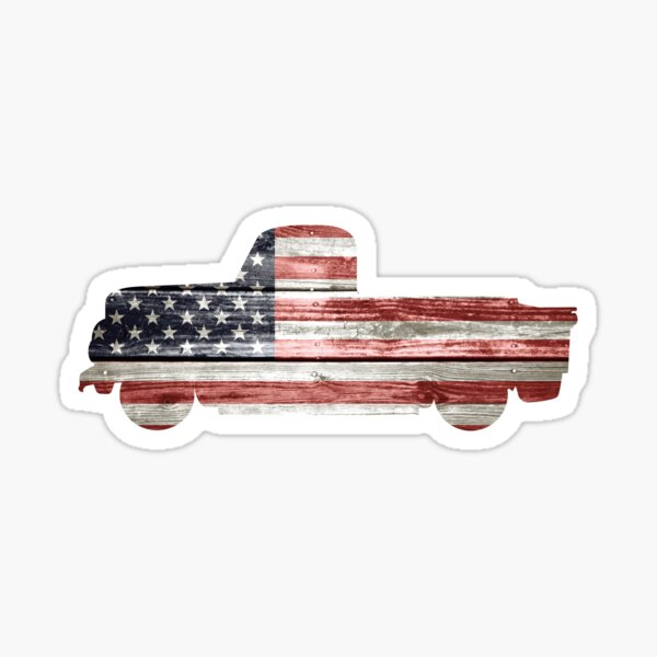 Patriotic Vintage Pickup Truck Sticker