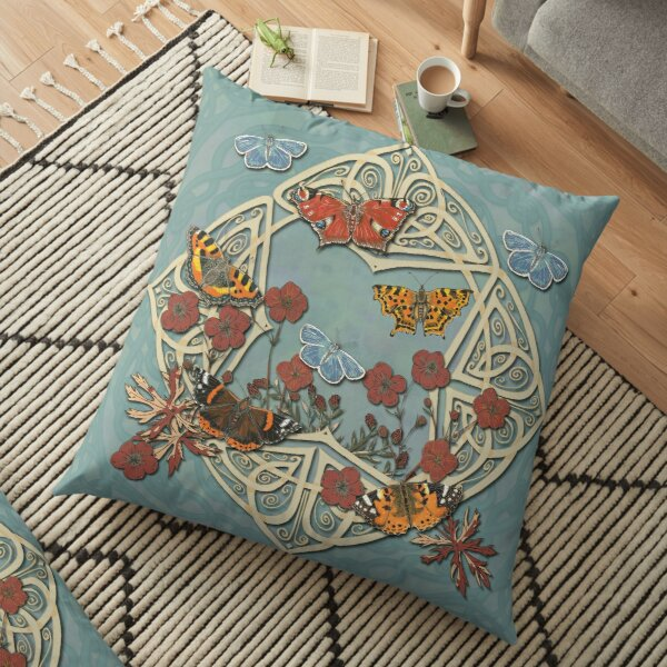 Butterfly Celtic Garden Fantasy Floor Pillow