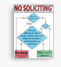 No Soliciting (flowchart) Metal Print