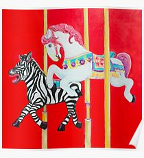 Horse and Zebra Carousel painting Poster