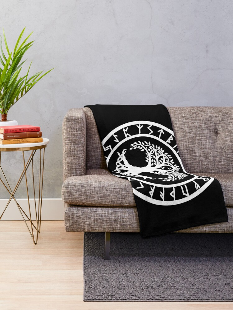Alternate view of Yggdrasil | Rune Circle (Variant II) Throw Blanket