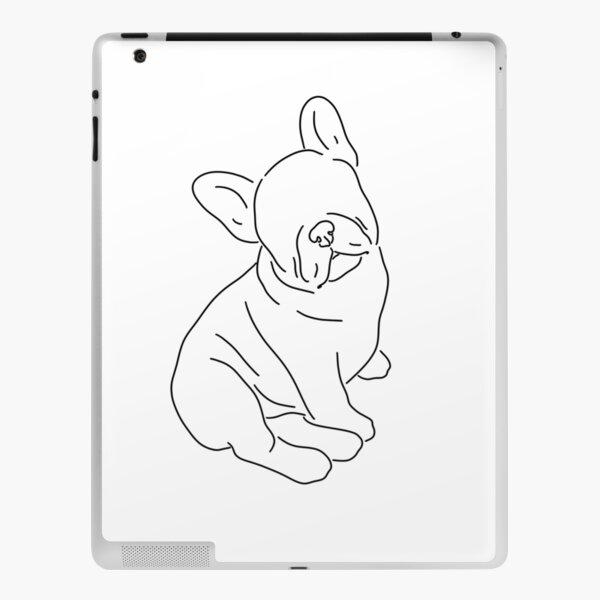 Sitting French Bulldog Line Art iPad Skin
