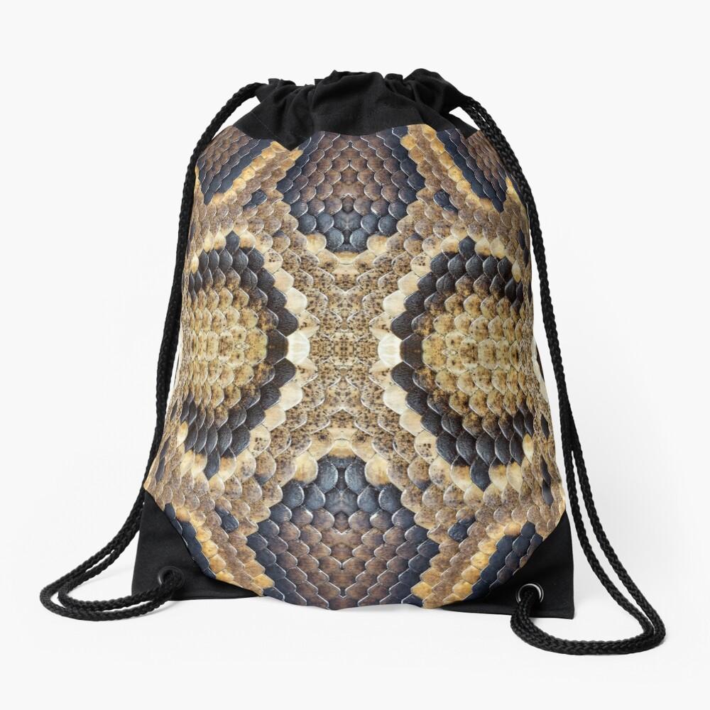 Brown Snake Skin Drawstring Bag
